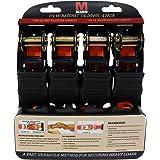 Mann Ratchet Tie Downs Straps with S-hooks 4-Pack Set 1-Inch x 15-Feet 500 Lbs Load Cap - 1500 Lb Break Strength