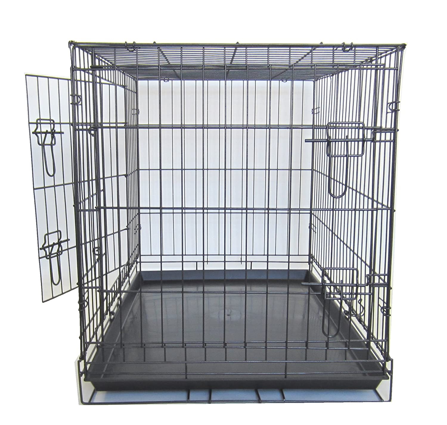 Black YML SA36 36-Inch Double Door Dog Kennel Cage with Plastic Tray No Bottom Wire