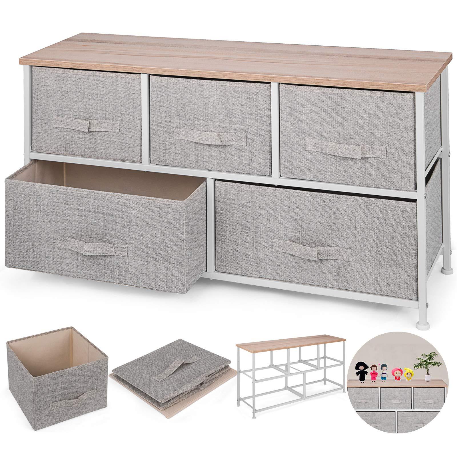 Happybuy 5-Drawer Storage Organizer Unit with Fabric Bins Bedroom Play Room Entryway Hallway Closets Steel Frame MDF Top Dresser Storage Tower Fabric Cube Dresser Chest Cabinet (Beige/Wide)