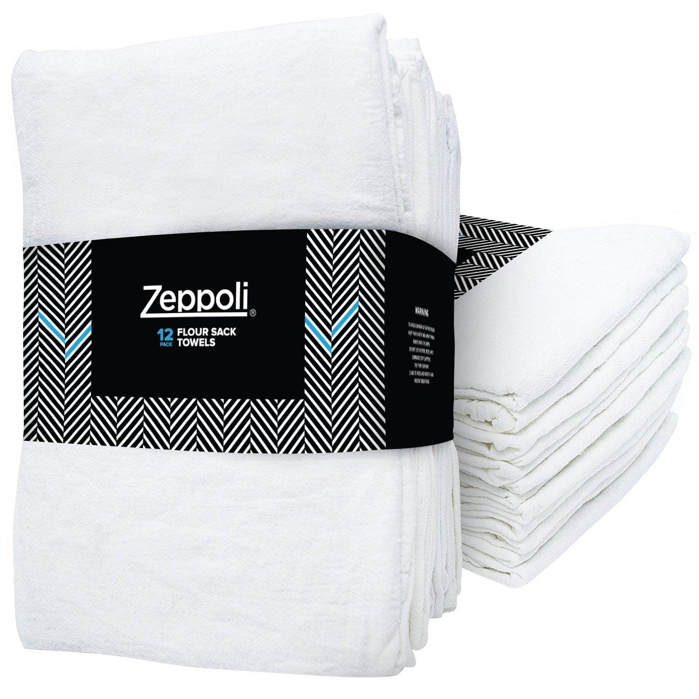 Zeppoli 24-Pack Flour Sack Towels - 31'' x 31'' Kitchen Towels - Absorbent White Dish Towels - 100% Ring Spun Cotton Bar Towels