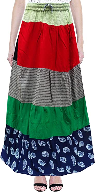PEEGLI Falda Larga Multicolor India para Mujer Ropa Informal Falda ...