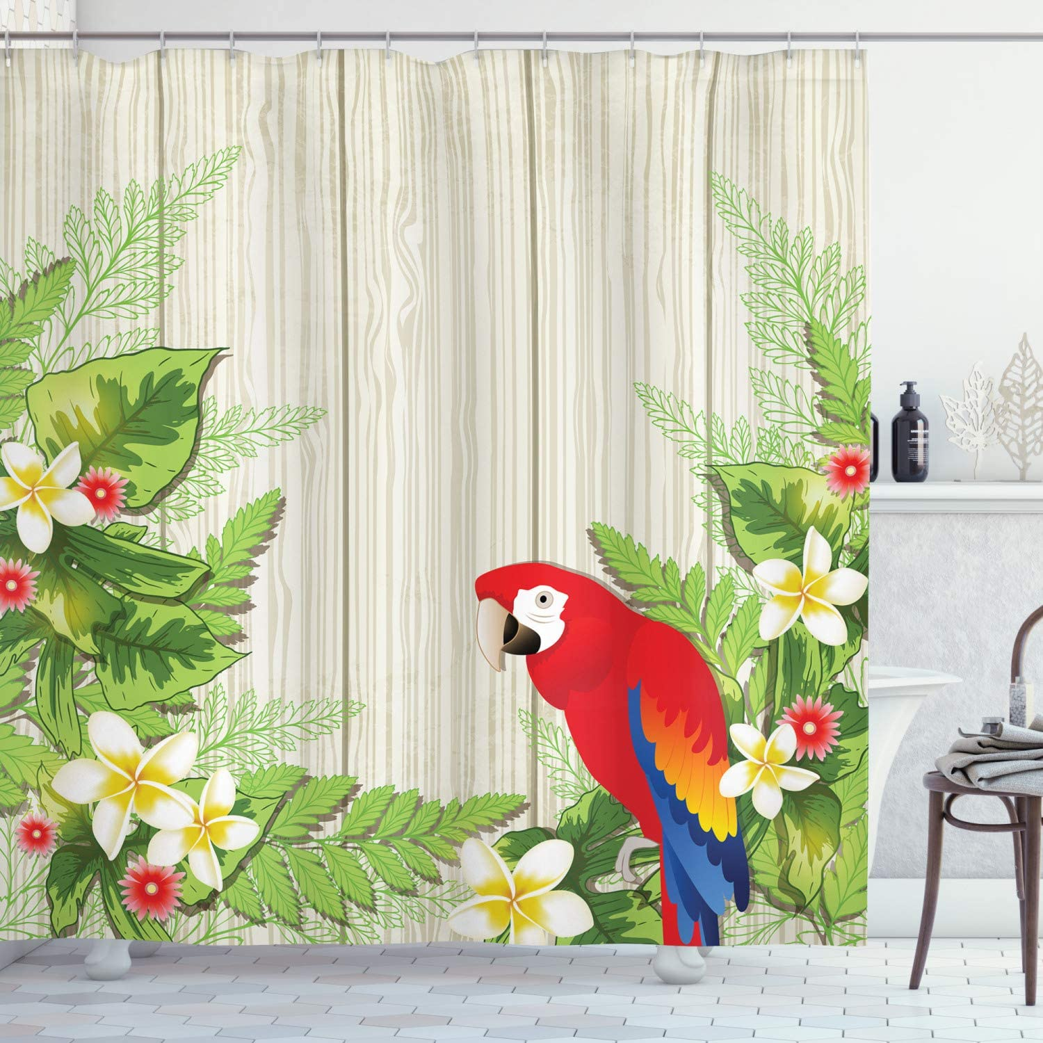 "Ambesonne Parrot Shower Curtain, Tropic Flowers and Parrot in Summer Garden Wooden Wall Ferns Artwork, Cloth Fabric Bathroom Decor Set with Hooks, 75"" Long, Cream Green"