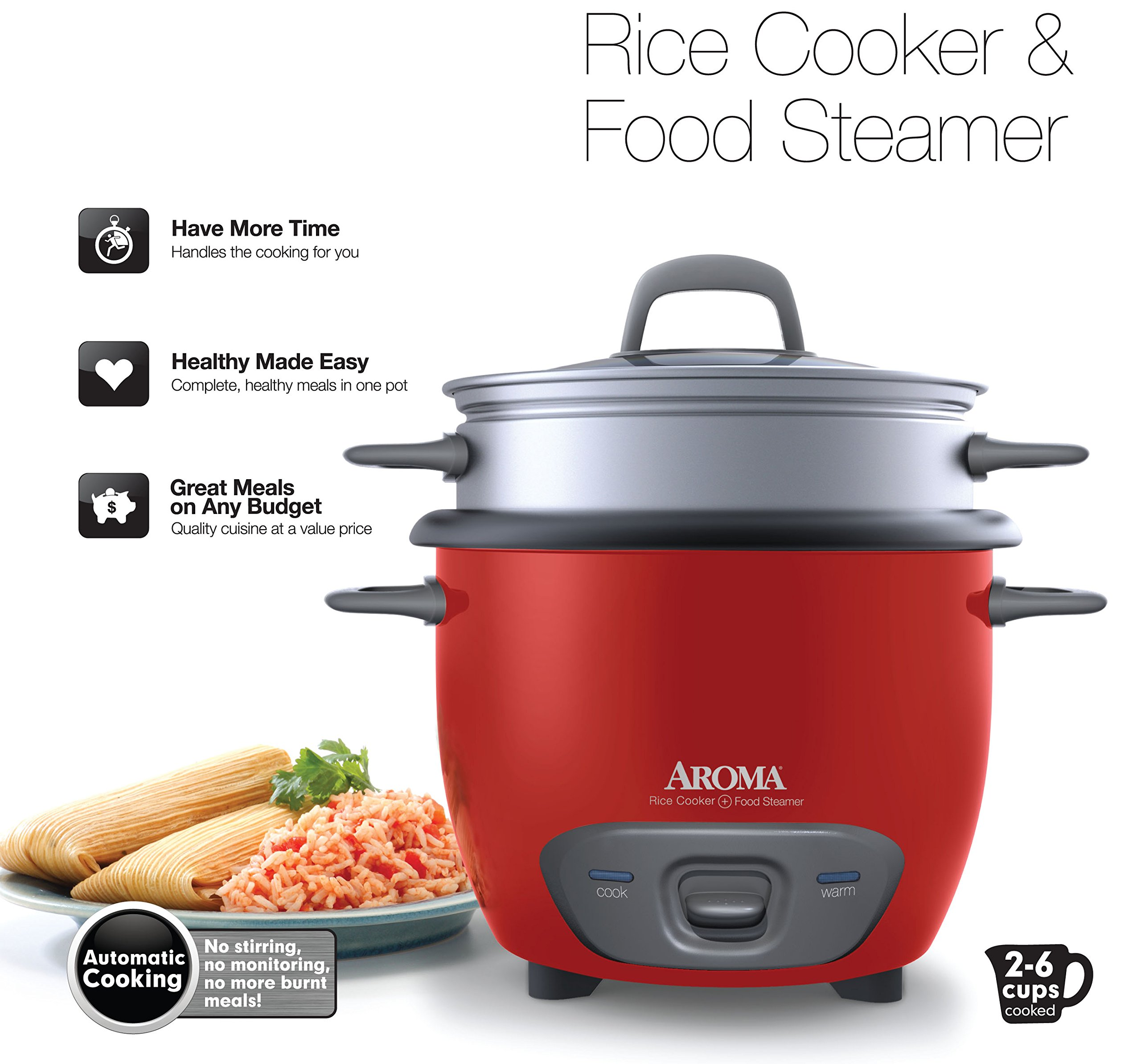 Aroma Housewares 6-Cup (Cooked) (3-Cup UNCOOKED) Pot Style Rice Cooker and Food Steamer by Aroma Housewares (Image #7)