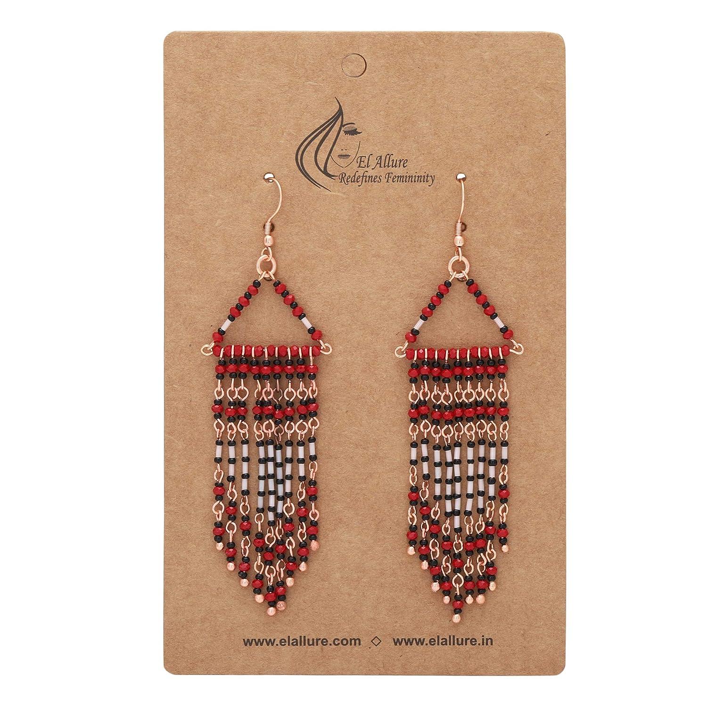 El Allure Maroon and Rose Gold Preciosa Seed Bead and Metal Chain Fringe Curtain Drop Tassel Earring with Geometric Handmade Trendy Beadwork.