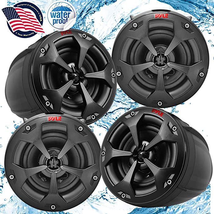 Waterproof Off-Road Speakers with Amplifier - 4Inch 1500W 4-Channel Marine Grade Wakeboard Tower Speakers System Full Range Outdoor Audio Stereo Speaker for ATV, UTV, Quad, Jeep, Boat - Pyle PLUTV44CH