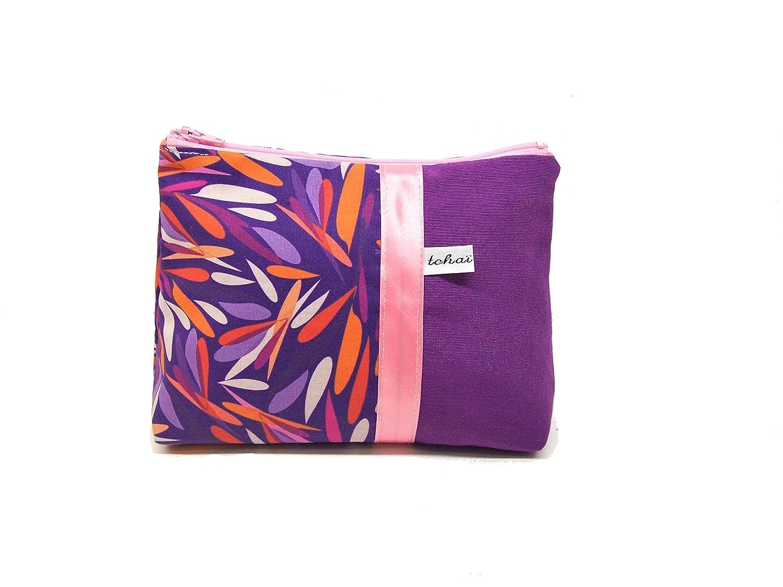 pochette maquillage violette imprimé feuilles graphiques rose et orange , trousse en toile et tissu design , fourre tout zippé femme , cadeau pour elle