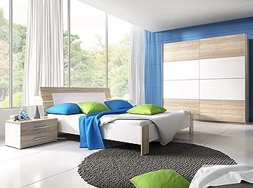 DreamsHome Schlafzimmer Set Jamie Schwebetürenschrank X NaKo - Schlafzimmer komplett mit lattenrost und matratze