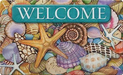 Amazon Com Toland Home Garden Shells Of The Sea Welcome 18 X 30 Inch Decorative Seashell Floor Mat Beach Doormat Garden Outdoor