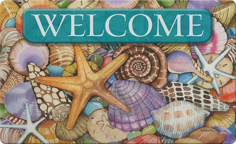 Toland Home Garden Shells of the Sea Welcome 18 x 30 Inch Decorative Seashell Floor Mat Beach Doormat