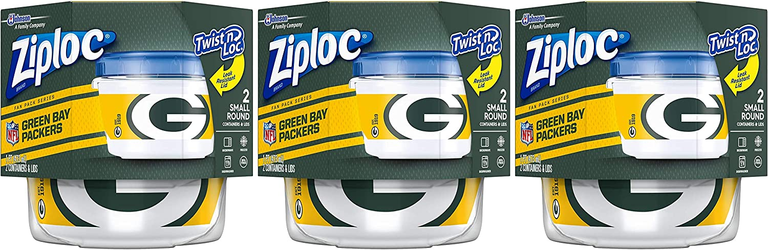 Ziploc Brand NFL Green Bay Packers Twist 'n Loc Containers, Small, 2 ct, 3 Pack