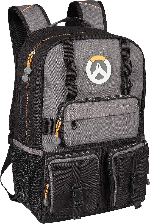 """JINX Overwatch MVP Laptop School Backpack, Black/Gray, 18"""""""