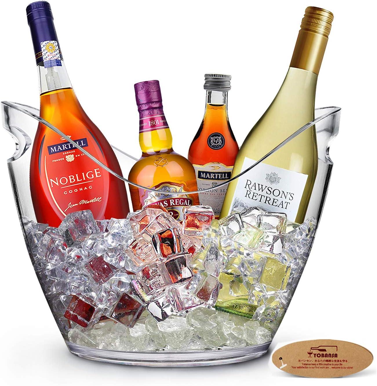 Yobansa 8L Acrylique Grand Seau à Glace, Seaux à Champagne Seau à Champagne Seau à Vin, Récipient De Stockage De Fruits et Légumes (Clear 01)