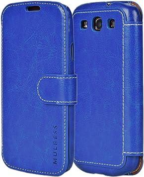Mulbess Funda Samsung Galaxy S3 [Libro Caso Cubierta] [En Capas de Billetera Cuero de la PU] con Tapa Magnética Carcasa para Samsung Galaxy S3 / S3 Neo Case, Azul: Amazon.es: Electrónica