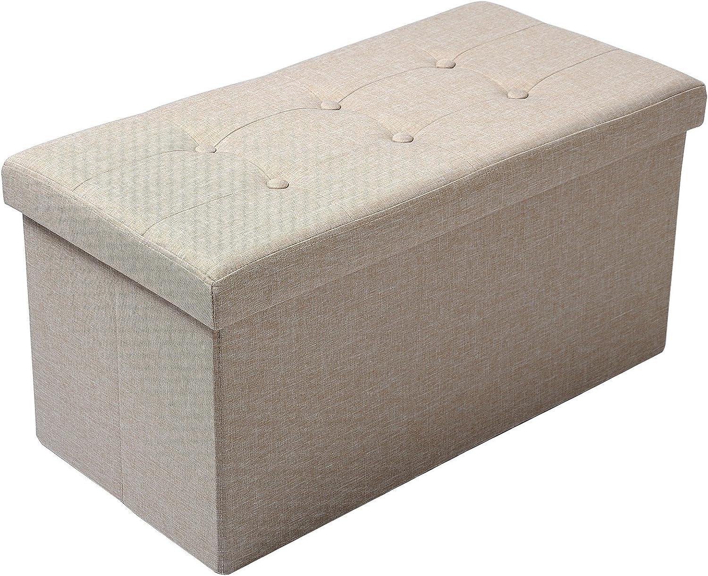 WOLTU Puff Baúl Plegable Rectángulo Taburete para Almacenamiento Otomanos Caja de Almacenaje con Tapa Reposapiés Sofá 76x37,5x38cm Beige Material de Madera SH32cm: Amazon.es: Hogar