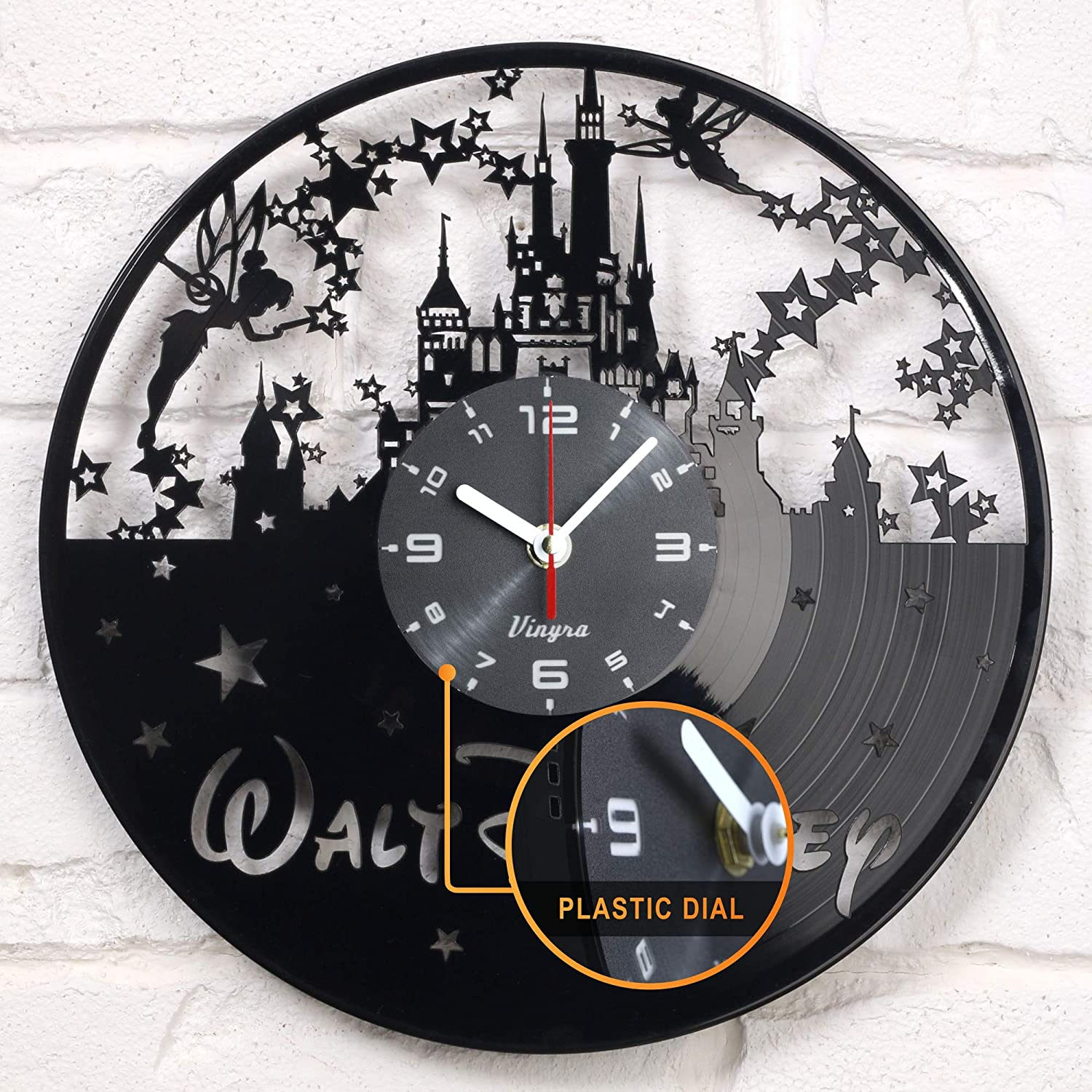 "Vinyra Vinyl Wall Clock compatible with Walt Disney World Mickey Mouse Castle themed Home - Gift Set Idea for Kids, Adults, Boys, Girls and Women - Nursery Art Vintage Decor, 12"" LP Record Clock Black"