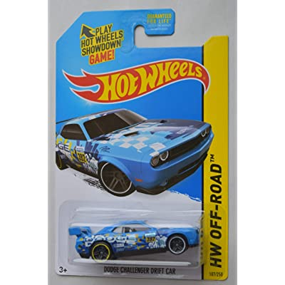 Hot Wheels 1:64 Scale Off Road, Blue Dodge Challenger Drift CAR 107/250: Toys & Games
