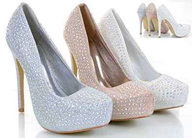9806cb289c25 Fourever Funky Jeweled Glitter Beaded Formal Party Heels Pumps White