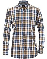 Casa Moda Premium Baumwolle Geknöpfter Kragen LS Block Kariert Hemd Größe XXL bis 5XL