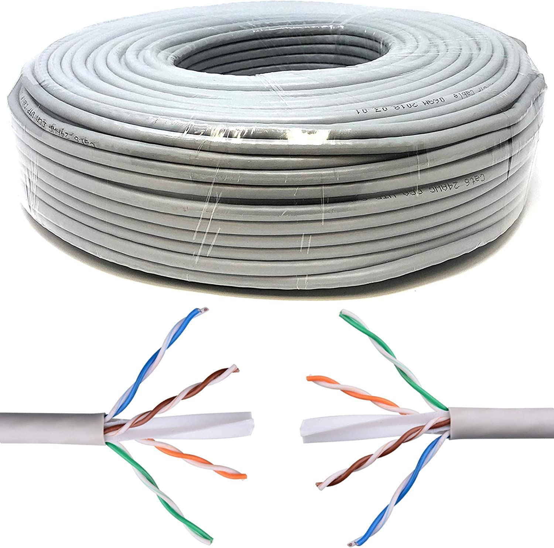 Mr. Tronic 100m Cable de Instalación Red Ethernet Bobina   CAT6, AWG24, CCA, UTP (100 Metros, Gris)