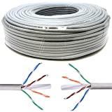 Mr. Tronic 50 Mètres Câble de Réseau Ethernet 50m | CAT6, AWG24, CCA, UTP, RJ45 | Câble d'installation | Gris