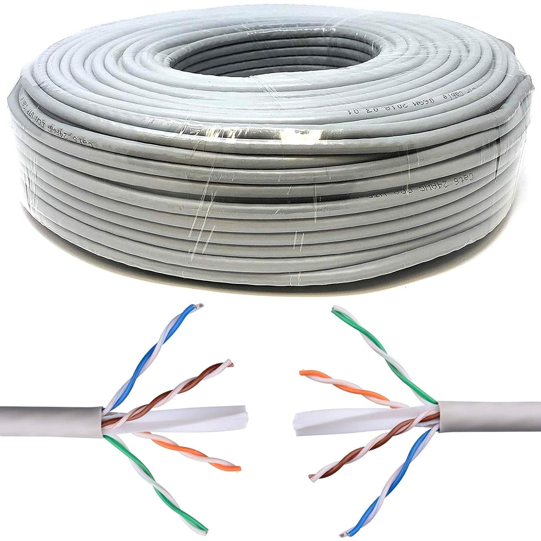 Mr. Tronic 50 Meter Ethernet Network Bulk Cable 50m | CAT6, AWG24, CCA, UTP | Colour Grey