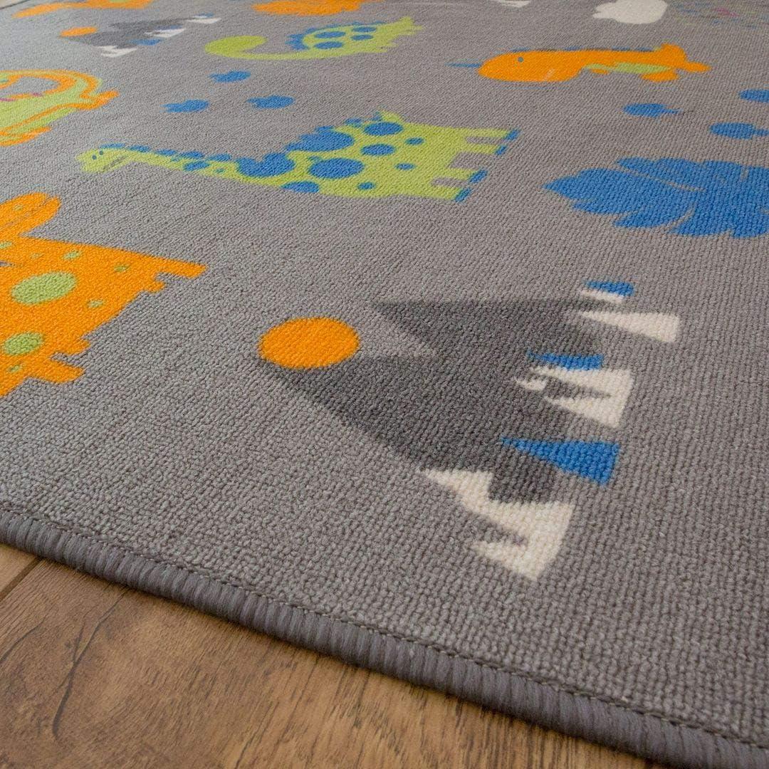 Dinosaurier-Teppich Grau // Orange // Gr/ün 100cm x 140cm grau 33 x 47