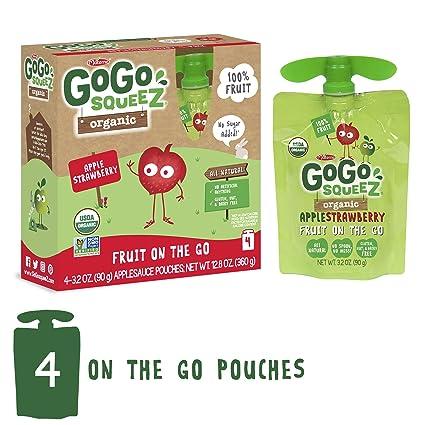 GoGo squeeZ salsa de manzana orgánica sobre la marcha, fresa ...