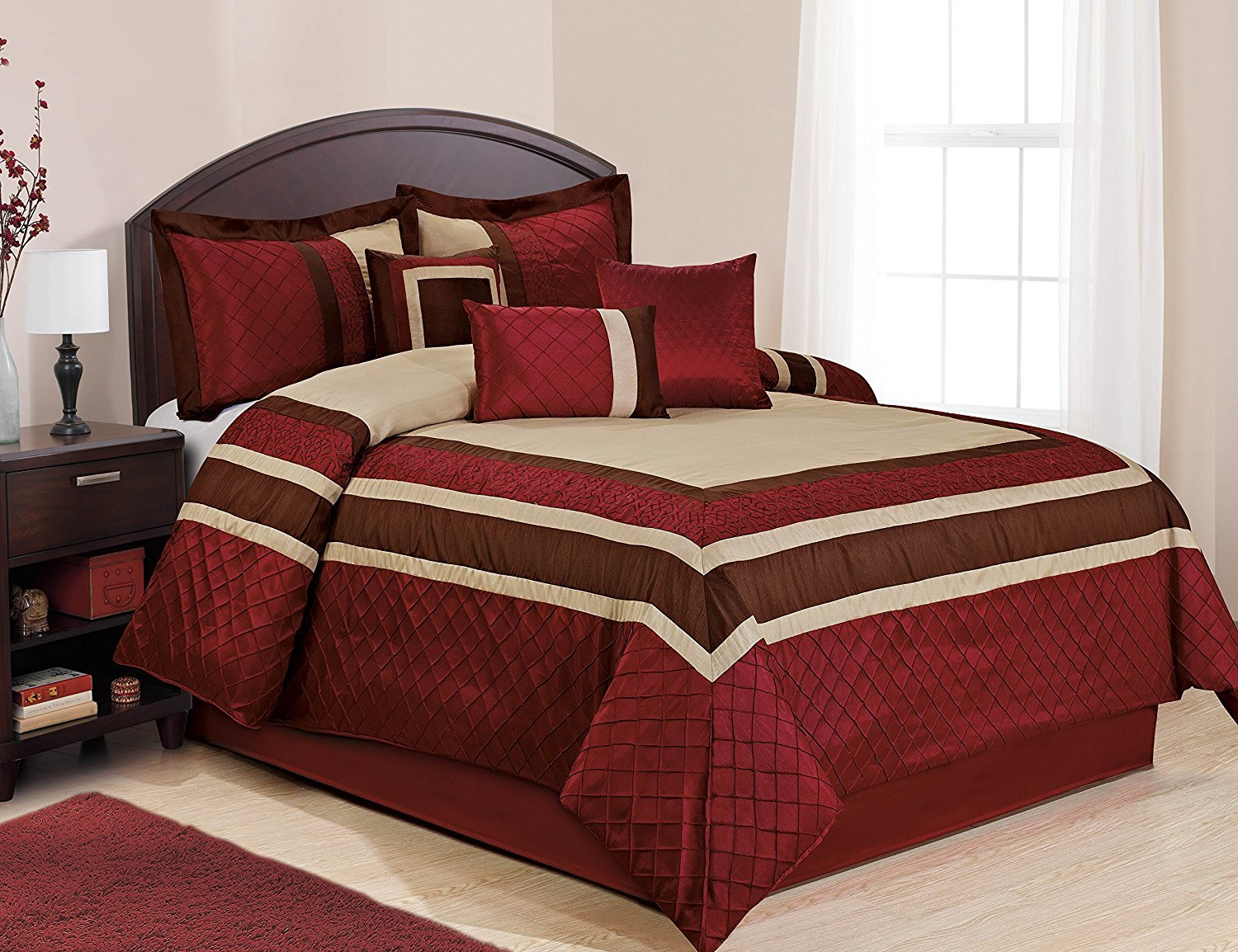 Amazon com 7 piece mya red bed in a bag comforter sets queen king cal king size cal king home kitchen