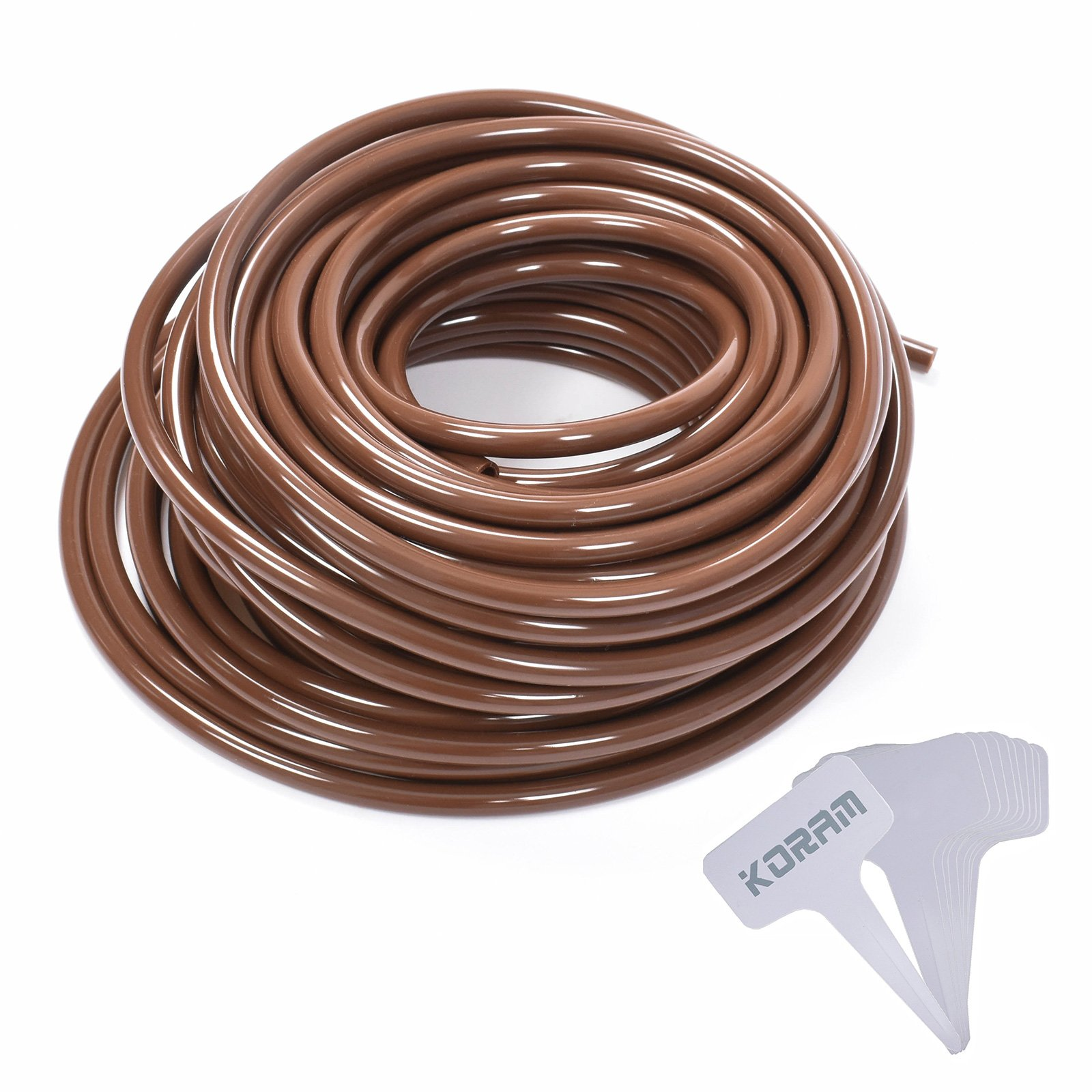 KORAM Drip Irrigation 1/4 Blank Distribution Tubing Drip Watering Hose 100ft Roll with Plant Garden Labels