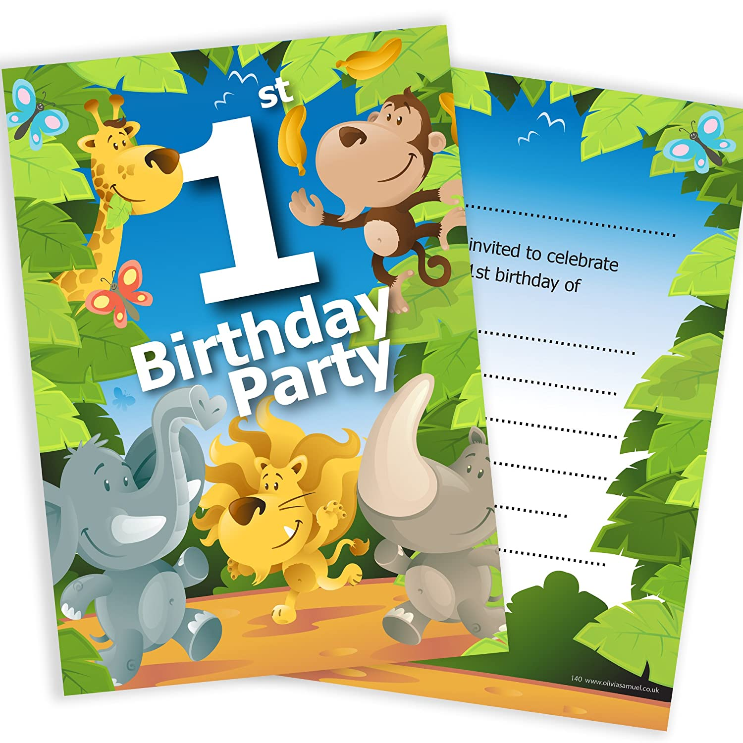Olivia Samuel 1st Birthday Party Jungle Themed Animal Invitations