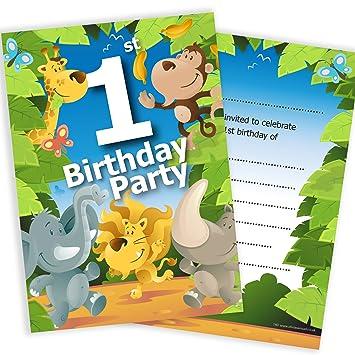 1st birthday party jungle themed animal invitations ready to write