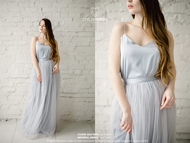 60379ba98d Amazon.com: Light Grey Classic Silk Bridesmaid Dress Tulle Skirt, Long  Floor Grey Length Waterfall Tulle Skirt, Prom Simple Grey Dress, Silk Cami  Top: ...