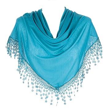 Stylish Triangle Bobbin Lace Fringed Ladies Scarf