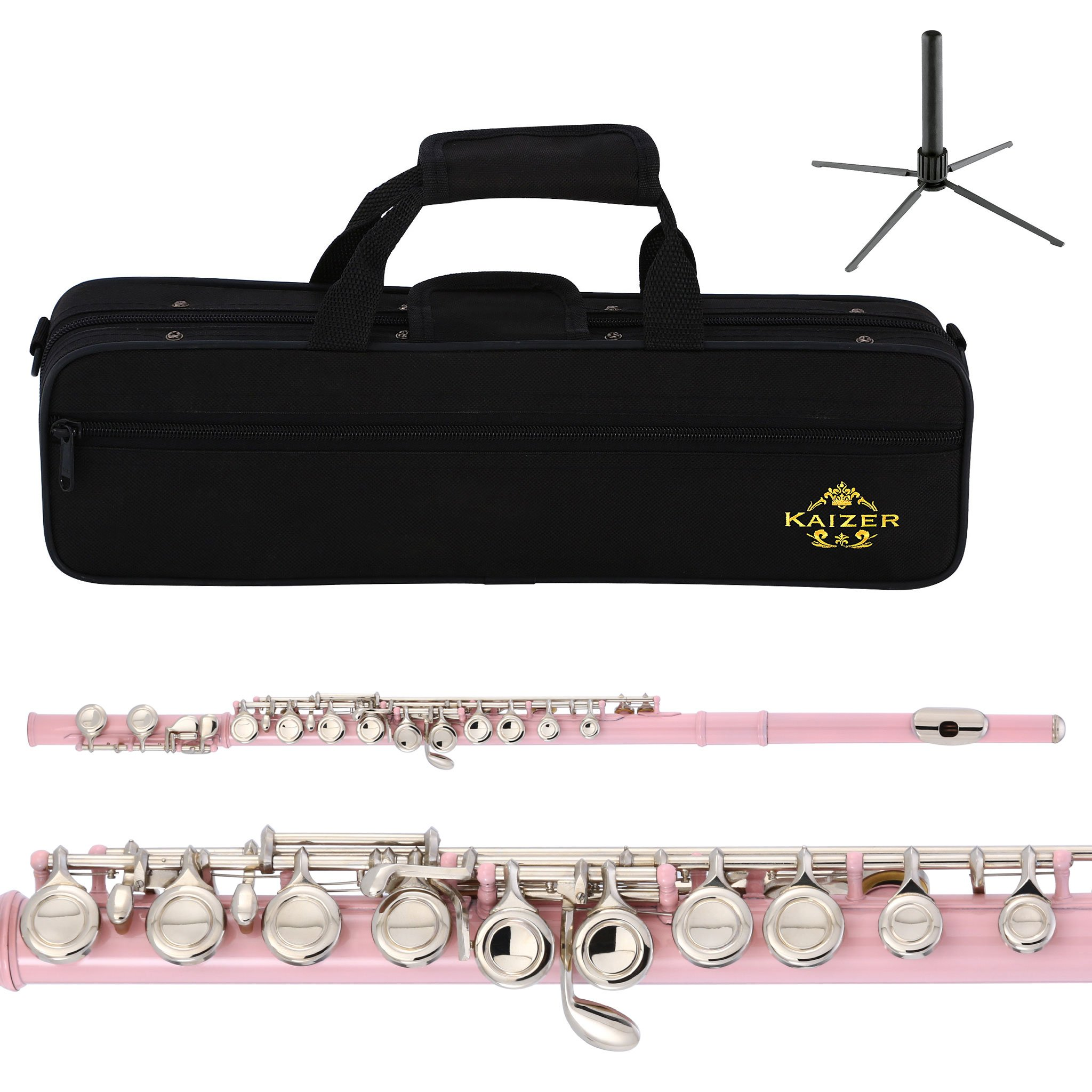 Kaizer Flute C Key Closed Hole Pink Body Silver Plated Keys FLT-1000PKNK by Kaizer