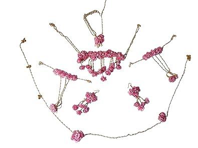 f00ae93d4 Buy Bharat Sales Pink Floret Gota Patti Flower Jewellery Set with ...