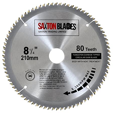 Saxton tct circular wood saw blade 210mm x 80t fits evolution rage saxton tct circular wood saw blade 210mm x 80t fits evolution rage saws includes 254 greentooth