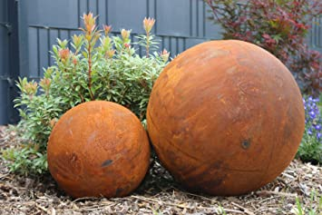 Boule Métal Rouille Décoration acier rouille Grand orange rouille ...