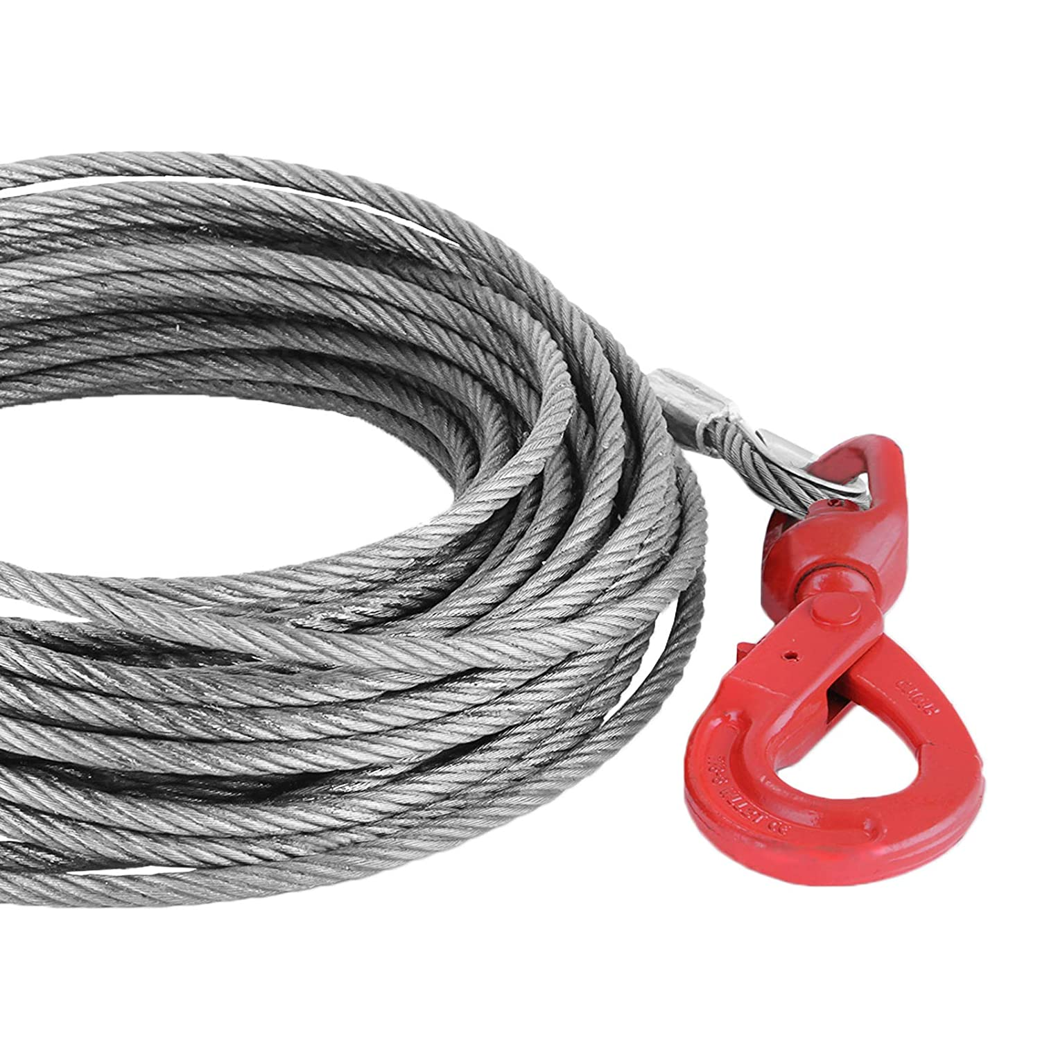 7//16 x 150 Mophorn Winch Cable 7//16 x 150 Replacement Wire Rope 4400LBS Fiber Core Self Locking Swivel Hook