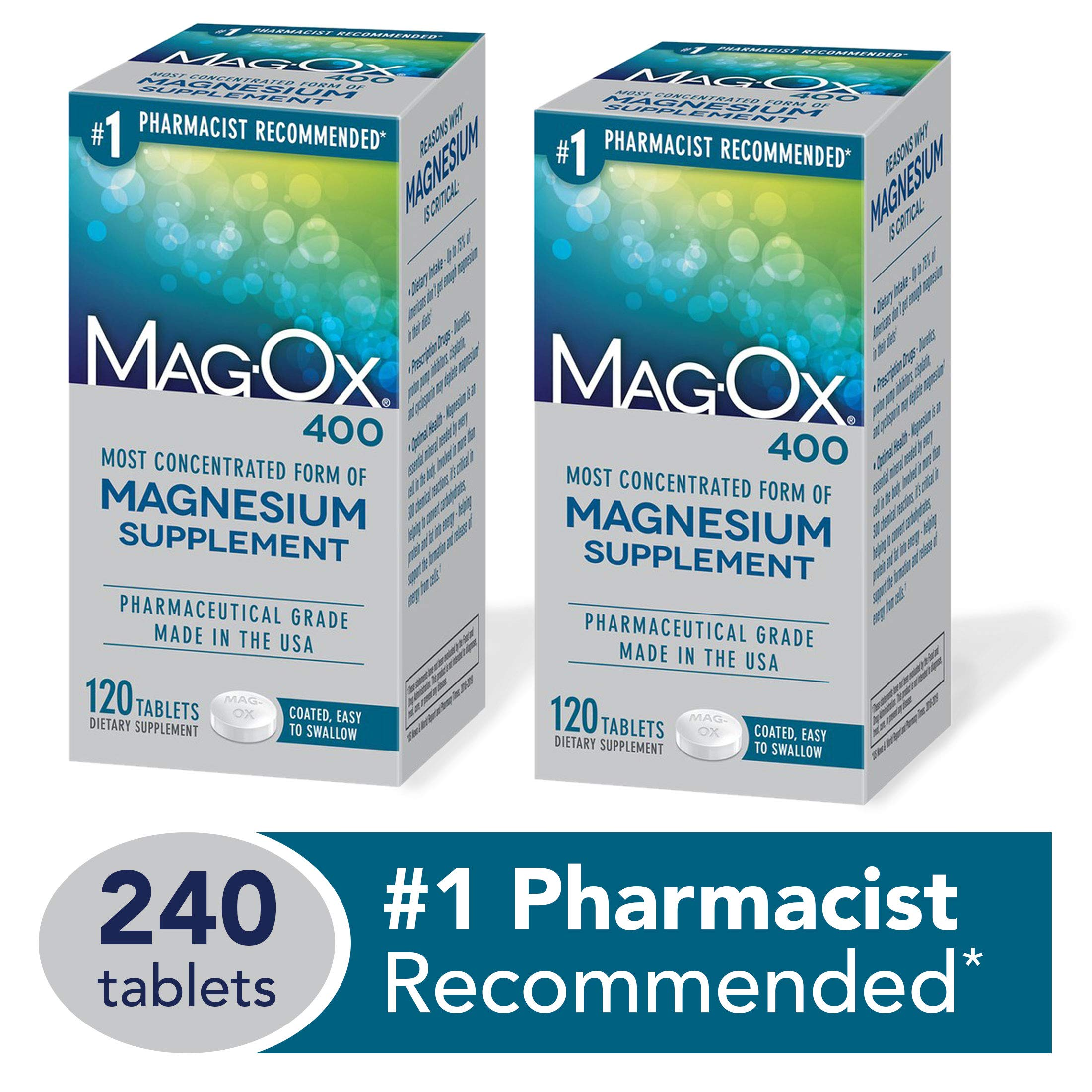 Mag-Ox 400 Magnesium Mineral Dietary Supplement Tablets, Magnesium Oxide, Pharmaceutical Grade, 120 Count, 2 Pack