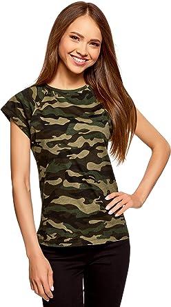 oodji Ultra Mujer Camiseta Estampada de Algodón: Amazon.es: Ropa y accesorios