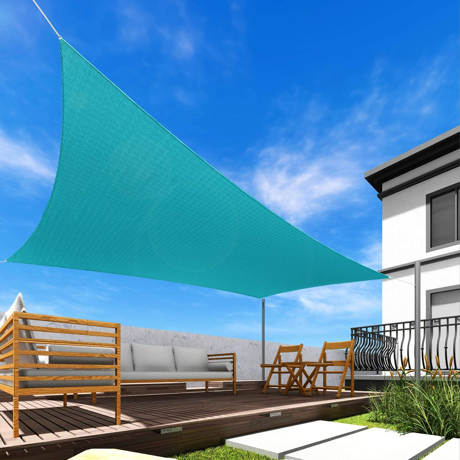 Windscreen4less 16' x 16' Sun Shade Sail Square Canopy in Turquoise with Commercial Grade Customized