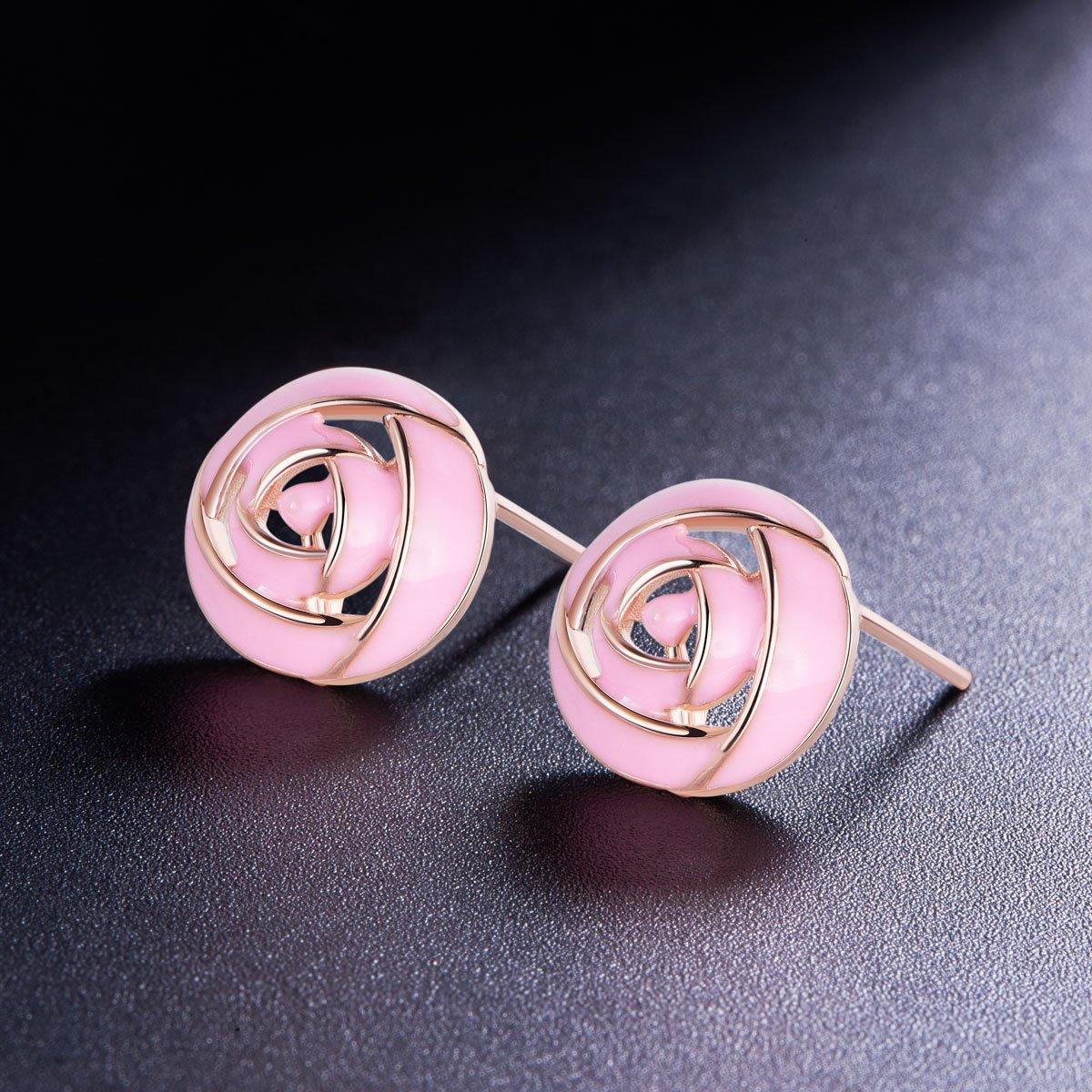 SHEGRACE 925 Sterling Silver Ear Studs with Pink Enamel Rose Flower Rose Gold 10mm