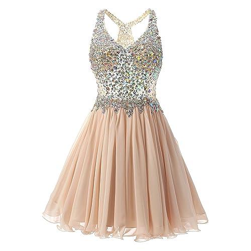 VogueDress V Neck Prom Dresses Open Back Tulle With Applique