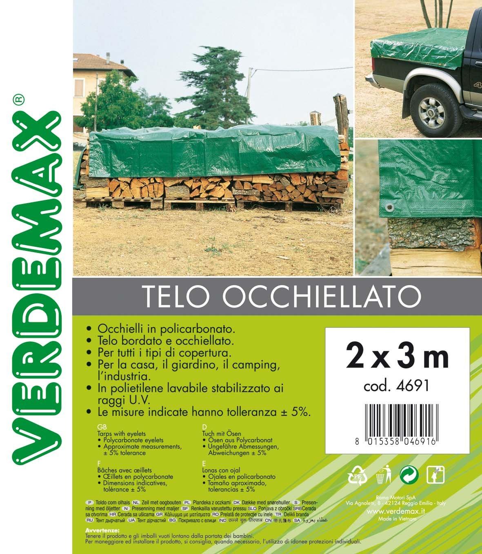 Telone con Occhielli VERDEMAX 4691 Colore: Verde 2 x 3 m 90 g//m/²
