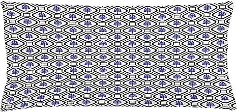 Image of ABAKUHAUS Geométrico Funda para Almohada, Hojas rombo Folklórico, Colores Perdurables Tela Lavable, 90 x 40 cm, Indigo Gris carbón