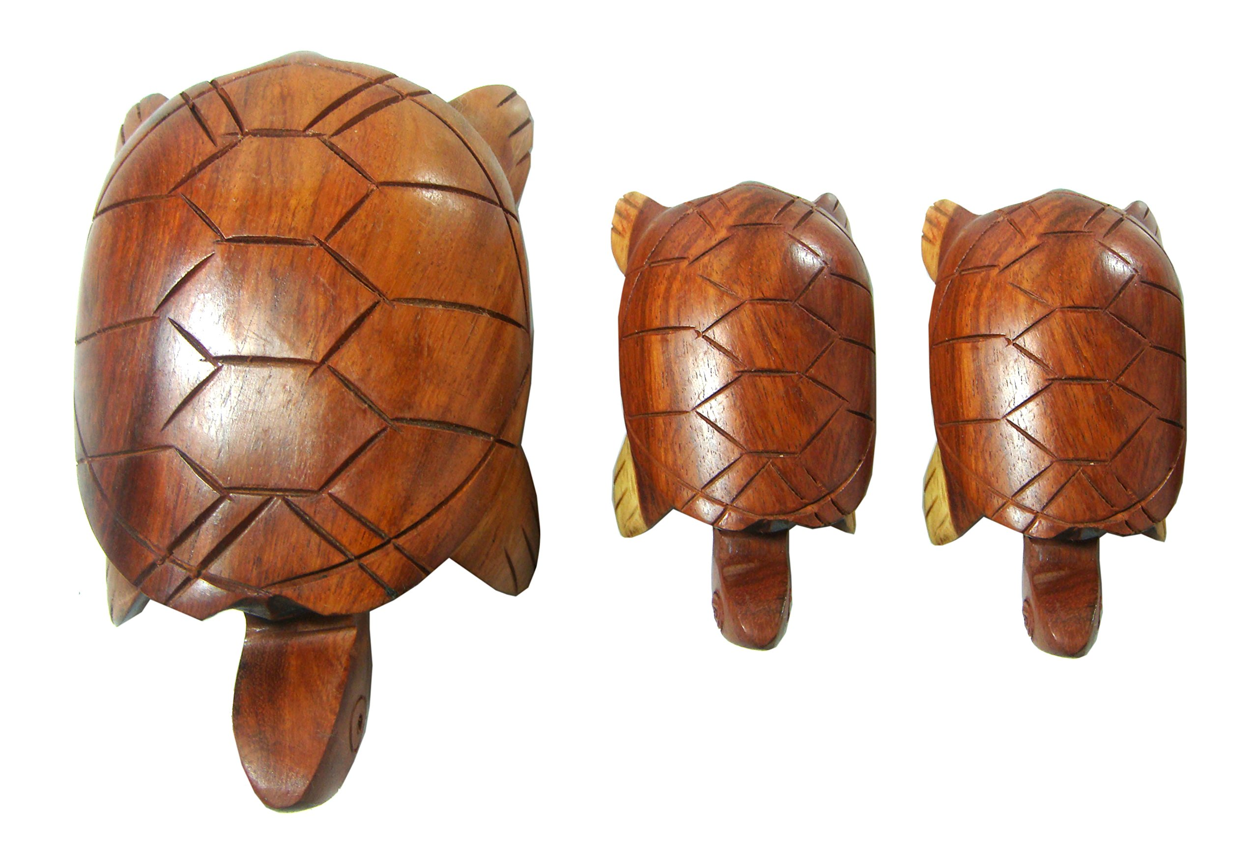 NareeGreen 3 Pieces Hand Carved Wood Turtle Auspicious animals turtle