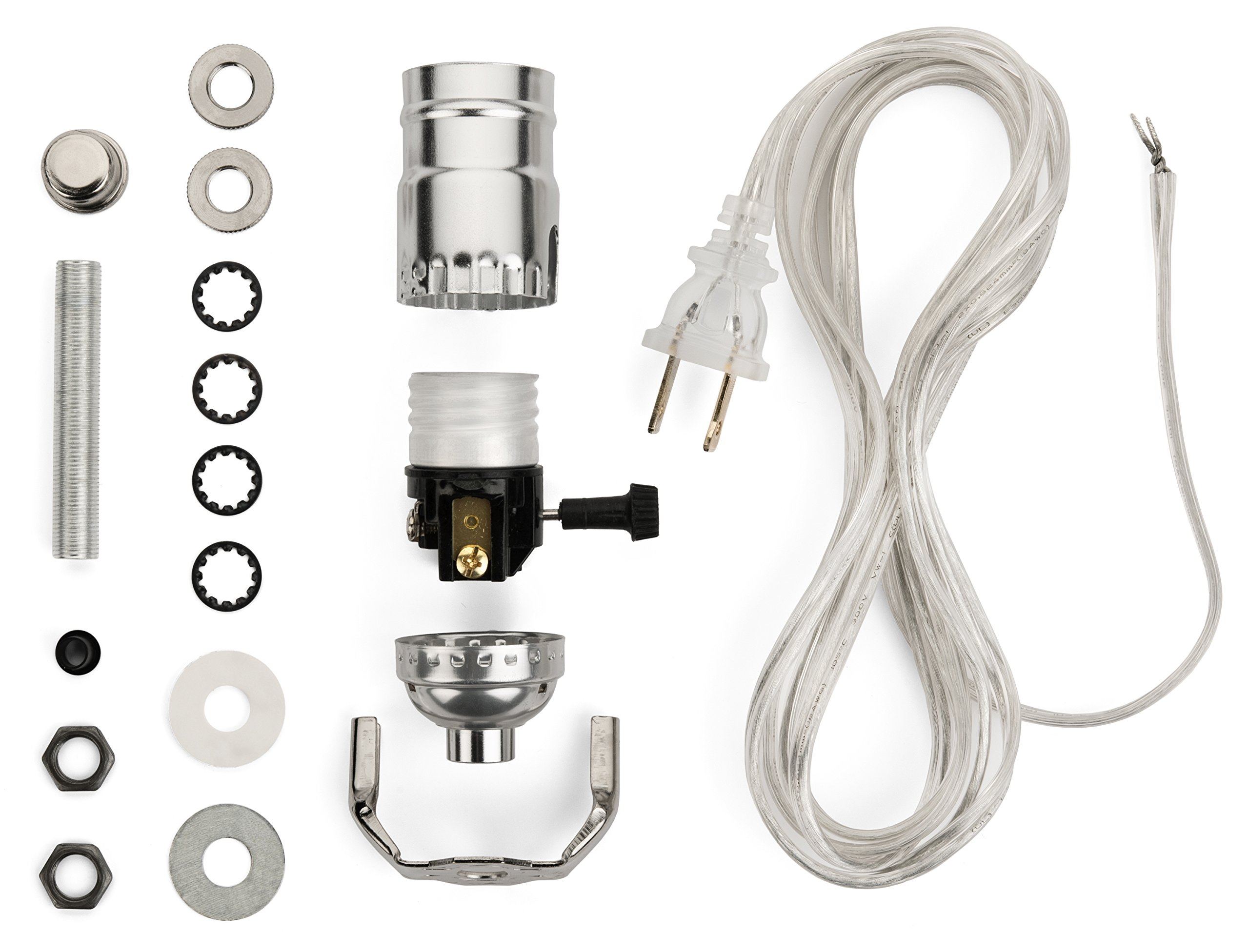 Lamp Wiring Kit - Lamp Making Kits Allow you to Make, Repair and Repurpose Lamps - Rewire a Vintage Lamp or Create a Custom Light with a Light Kit - Nickel Silver Socket - 8 Foot Long Silver Cord