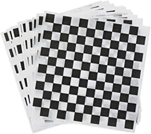 Dry Wax Paper Deli Wrap and Basket Liner (100, Black Checkered 12x12)