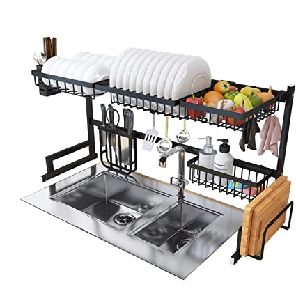 Buy The Amaze Kitchen Sink Dish Drainer Drying Rack Kitchen Dish Rack Over Sink Stainless Steel Over The Sink Shelf Storage Rack Drainer Counter Space Pot Organizers Rack Black Online At Low