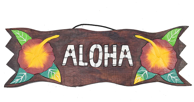 Interlifestyle Cartel de madera 50 cm Aloha Tiki Hawaii ...